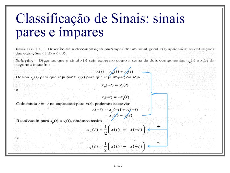 Aula 2 Classificação de Sinais: sinais pares e ímpares O exemplo anterior foi para sinal real Para sinal de valor complexo, diz-se que ele tem conjugado simétrico se Onde: