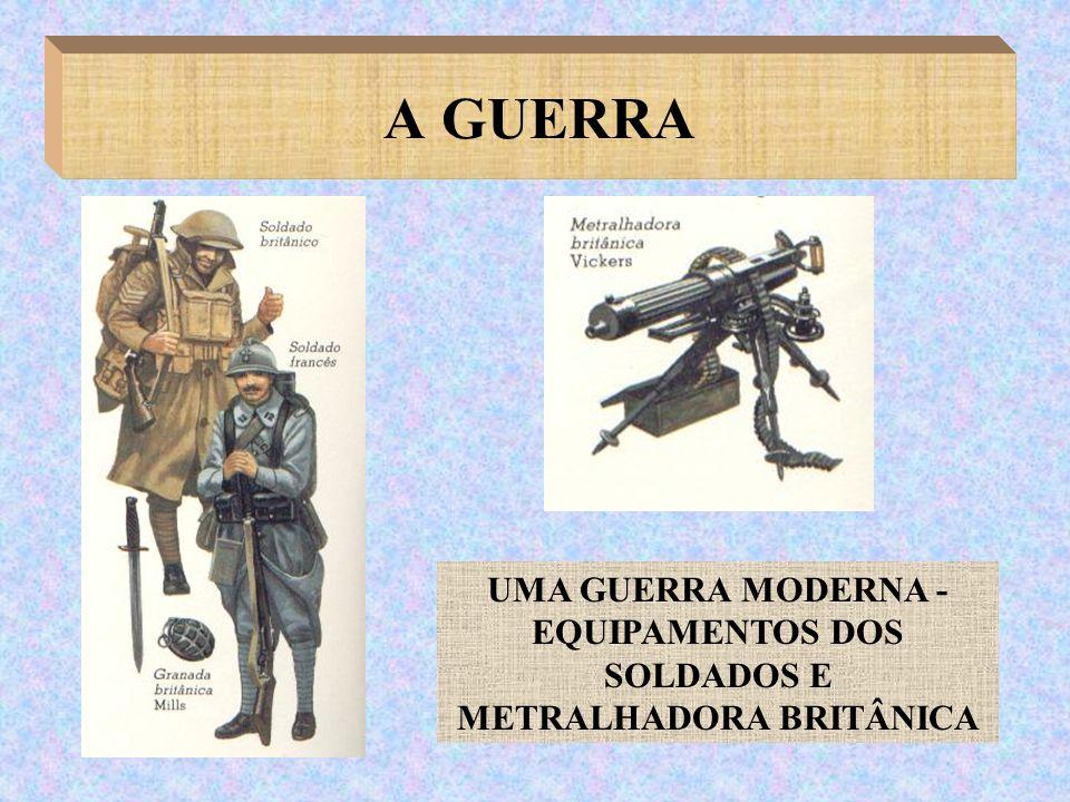 A GUERRA UMA GUERRA MODERNA - EQUIPAMENTOS DOS SOLDADOS E METRALHADORA BRITÂNICA