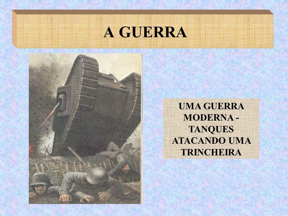 A GUERRA UMA GUERRA MODERNA - TANQUES ATACANDO UMA TRINCHEIRA
