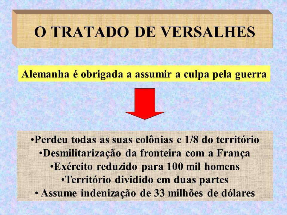 O TRATADO DE VERSALHES Perdeu todas as suas colônias e 1/8 do território Desmilitarização da fronteira com a França Exército reduzido para 100 mil hom