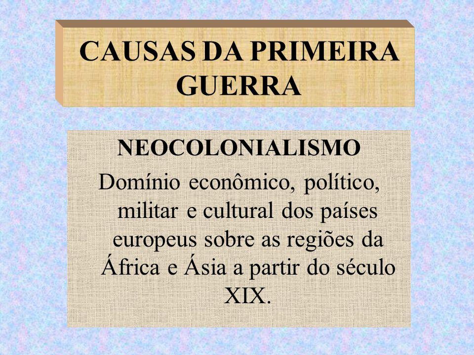 NEOCOLONIALISMO Domínio econômico, político, militar e cultural dos países europeus sobre as regiões da África e Ásia a partir do século XIX. CAUSAS D