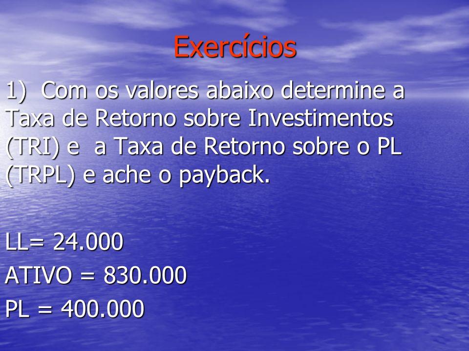 Exercícios 1) Com os valores abaixo determine a Taxa de Retorno sobre Investimentos (TRI) e a Taxa de Retorno sobre o PL (TRPL) e ache o payback. LL=