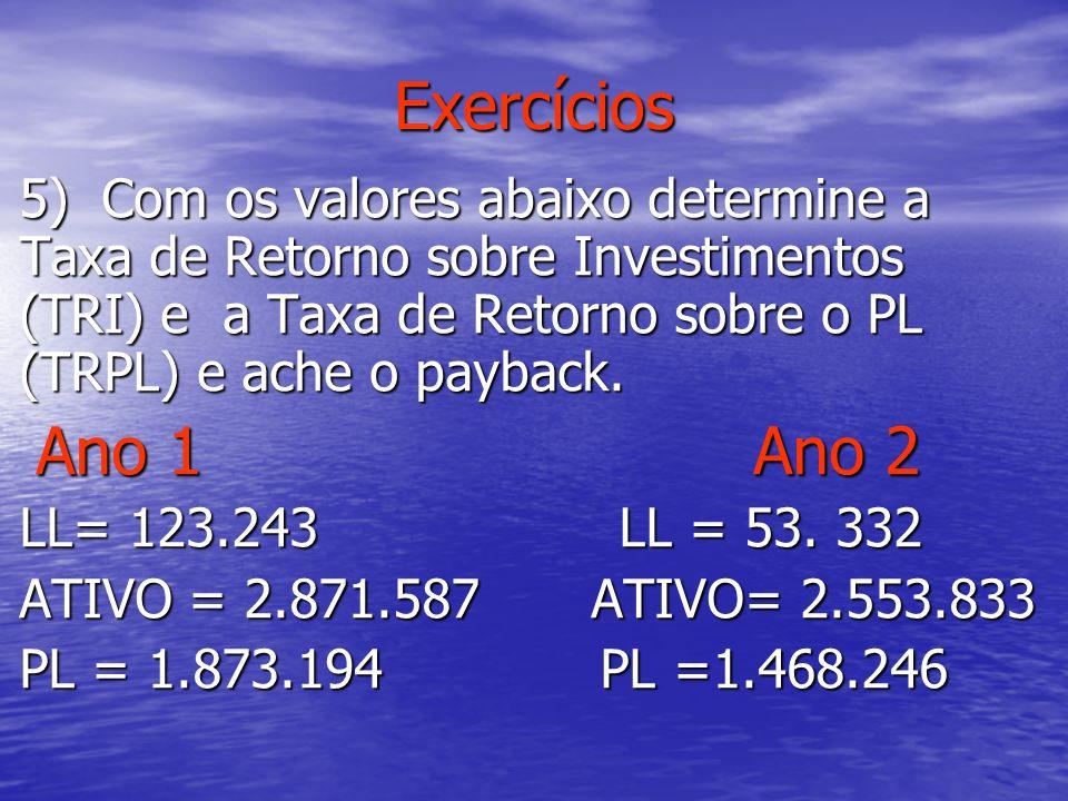 Exercícios 5) Com os valores abaixo determine a Taxa de Retorno sobre Investimentos (TRI) e a Taxa de Retorno sobre o PL (TRPL) e ache o payback. Ano