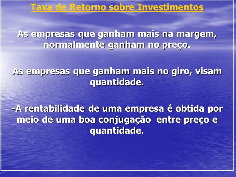 Taxa de Retorno sobre Investimentos As empresas que ganham mais na margem, normalmente ganham no preço. As empresas que ganham mais no giro, visam qua