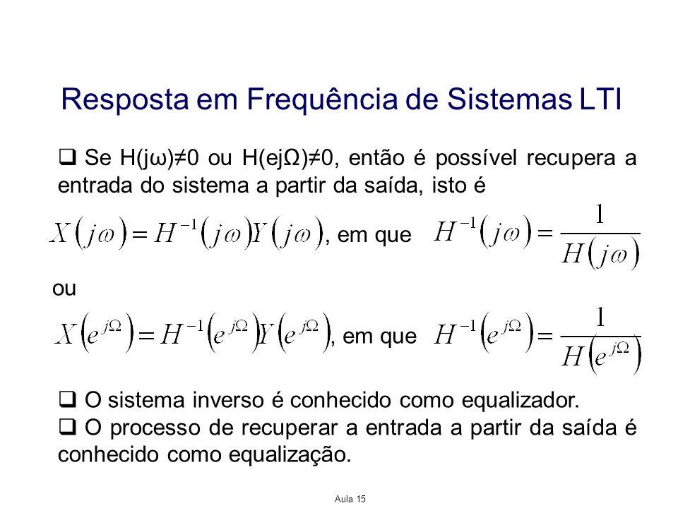 Aula 15 Resposta em Frequência de Sistemas LTI Se H(jω)0 ou H(ej)0, então é possível recupera a entrada do sistema a partir da saída, isto é ou, em qu