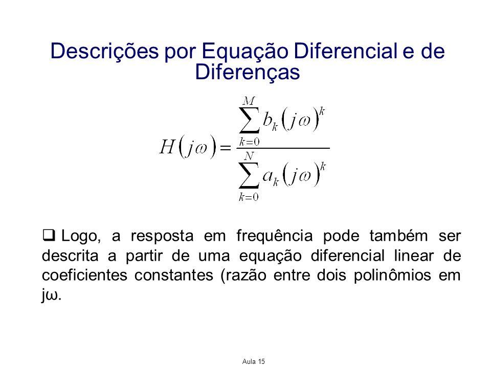 Aula 15 Descrições por Equação Diferencial e de Diferenças Logo, a resposta em frequência pode também ser descrita a partir de uma equação diferencial