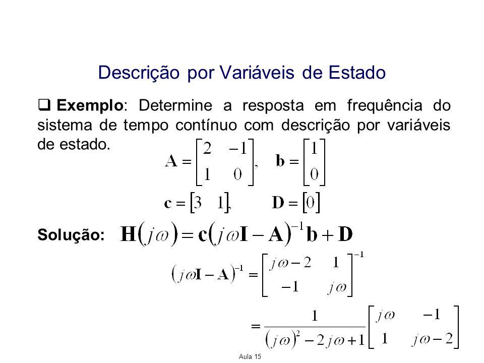 Aula 15 Descrição por Variáveis de Estado Exemplo: Determine a resposta em frequência do sistema de tempo contínuo com descrição por variáveis de esta