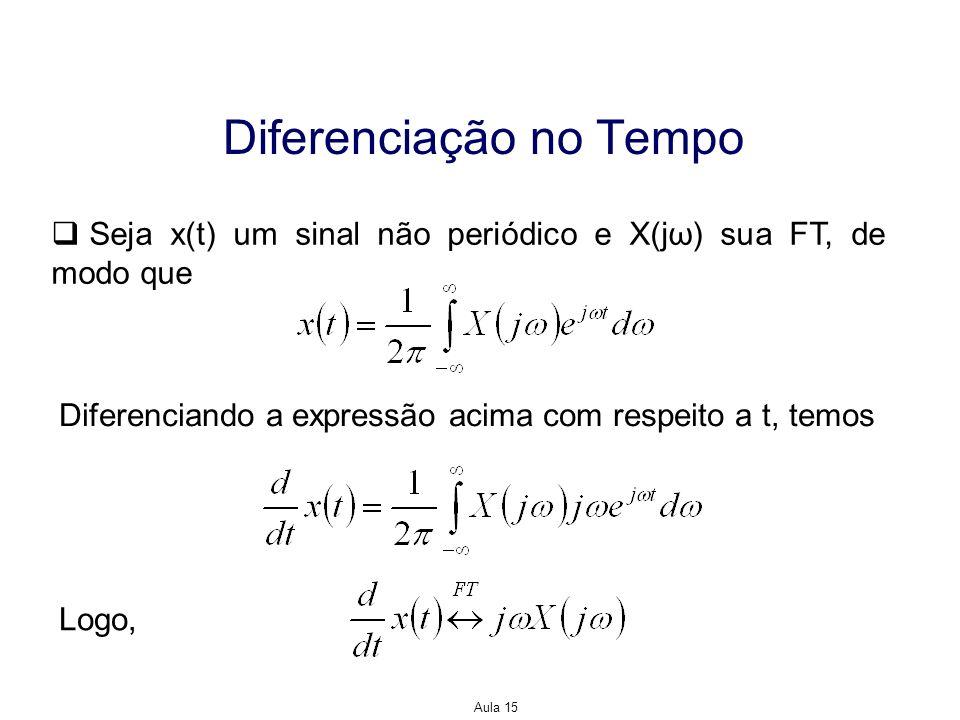Aula 15 Diferenciação na Frequência Diferenciando agora com respeito a ω, temos Logo,