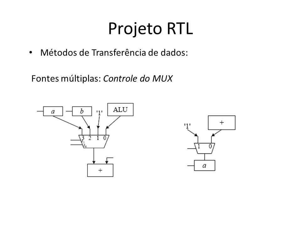 Projeto RTL Métodos de Transferência de dados: Fontes múltiplas: Controle do MUX