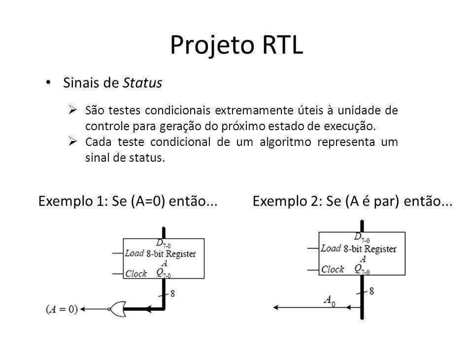Projeto RTL Sinais de Status São testes condicionais extremamente úteis à unidade de controle para geração do próximo estado de execução. Cada teste c