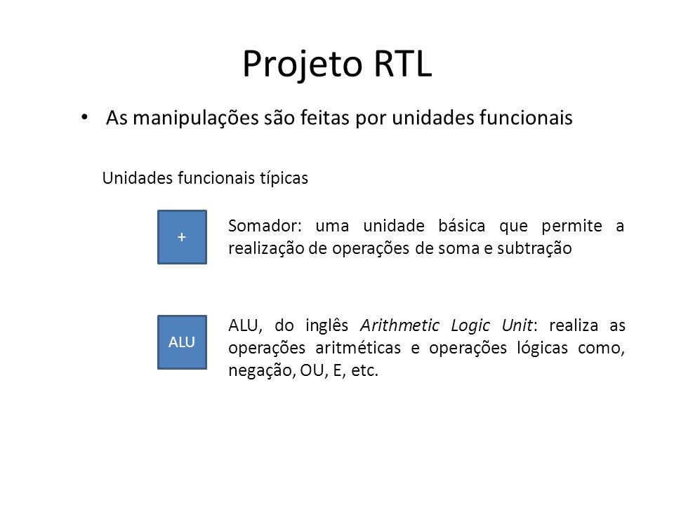 Projeto RTL Métodos de Transferência de dados: Barramento Tri-State (fontes múltiplas e destinos múltiplos) Apenas uma fonte pode acessar o barramento por vez (evitar conflito de dados) Controle feito a partir de buffers tri-state Os destinos estão diretamente conectados ao barramento