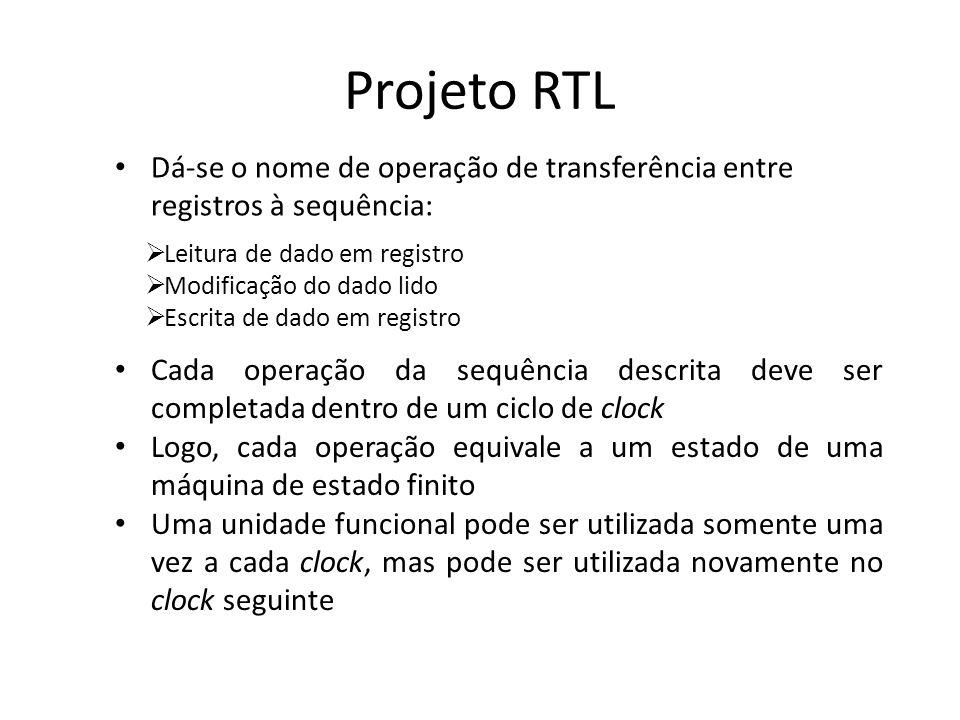 Projeto RTL Dá-se o nome de operação de transferência entre registros à sequência: Leitura de dado em registro Modificação do dado lido Escrita de dad