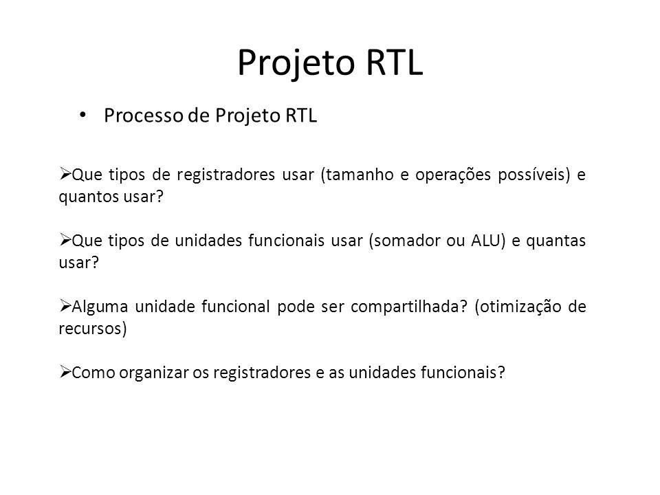 Projeto RTL Processo de Projeto RTL Que tipos de registradores usar (tamanho e operações possíveis) e quantos usar? Que tipos de unidades funcionais u