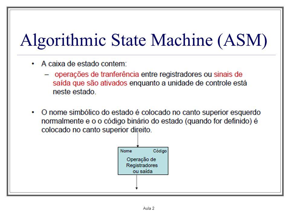 Aula 2 ASM O objetivo de uma ASM é chegar ao circuito final, que normalmente subdivide-se em parte operativa e parte de controle