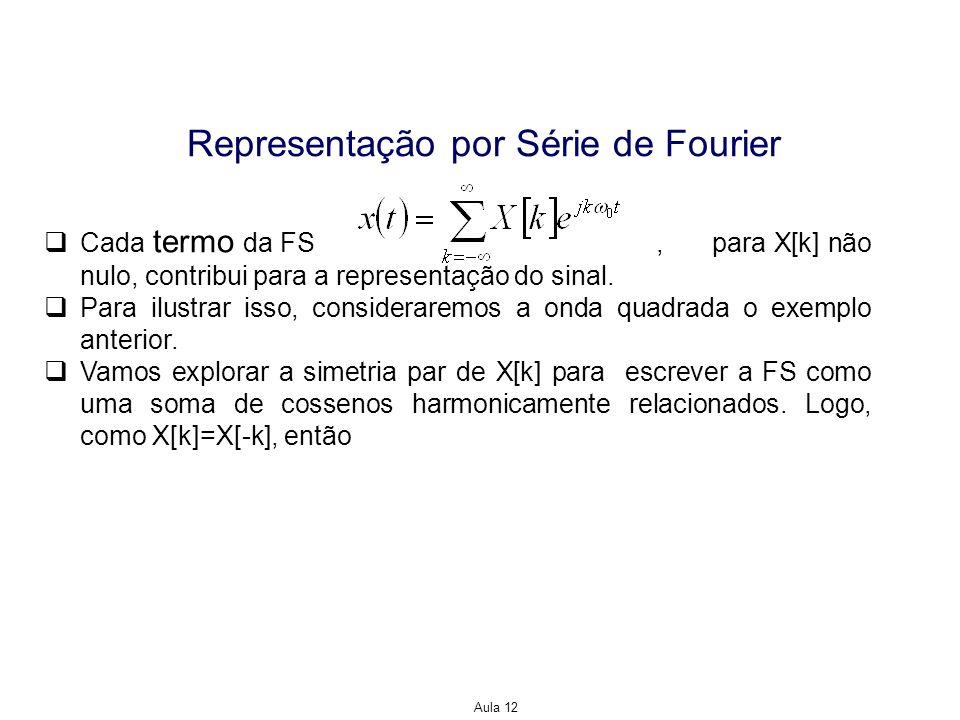 Aula 12 Representação por Série de Fourier Cada termo da FS, para X[k] não nulo, contribui para a representação do sinal. Para ilustrar isso, consider