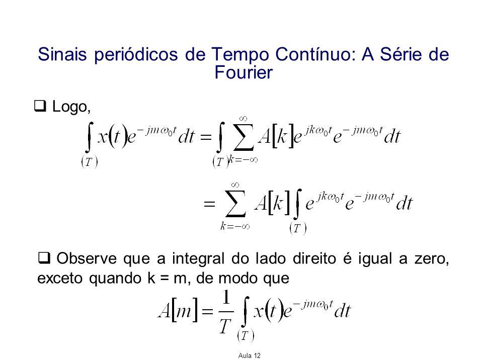 Aula 12 Sinais periódicos de Tempo Contínuo: A Série de Fourier Logo, Observe que a integral do lado direito é igual a zero, exceto quando k = m, de m