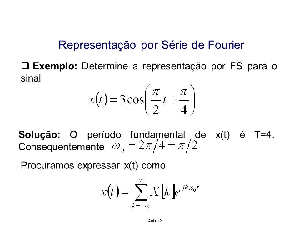 Aula 12 Representação por Série de Fourier Se definirmos B[0]=X[0] e B[k]=2X[k], k0, então Exemplo: Definimos a aproximação por soma parcial para a representação da FS da onda quadrada, isto é Suponha que T=1 e Ts/T=1/4.
