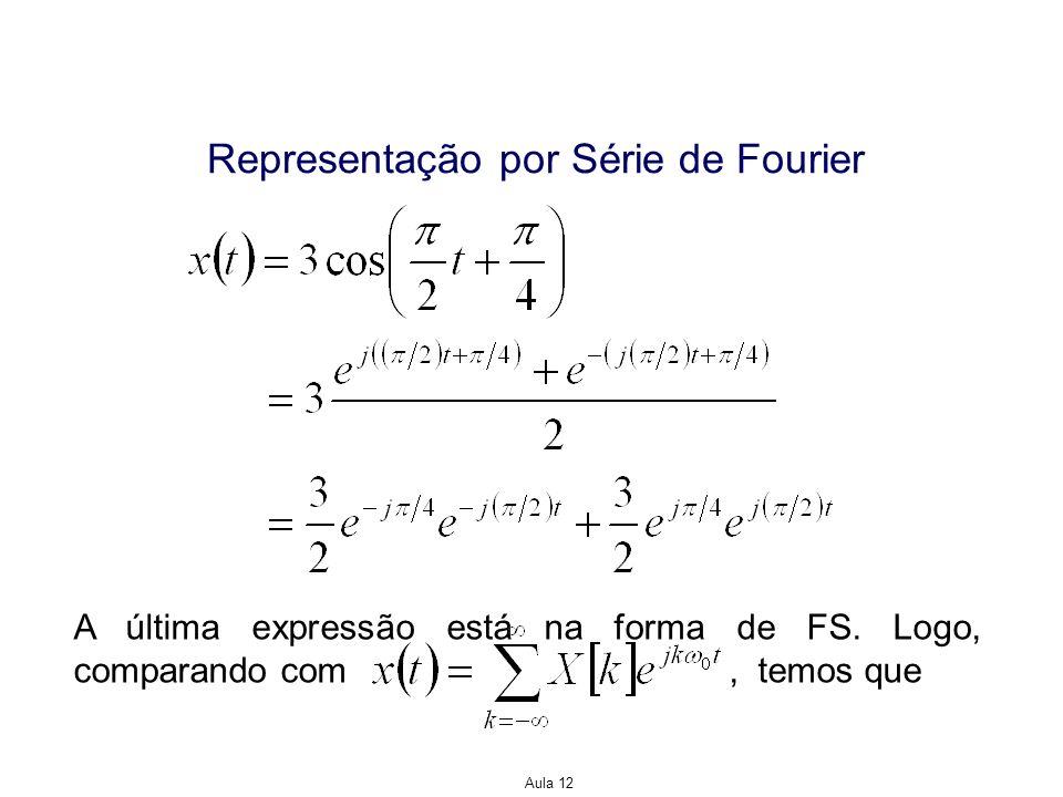Aula 12 Representação por Série de Fourier A última expressão está na forma de FS. Logo, comparando com, temos que