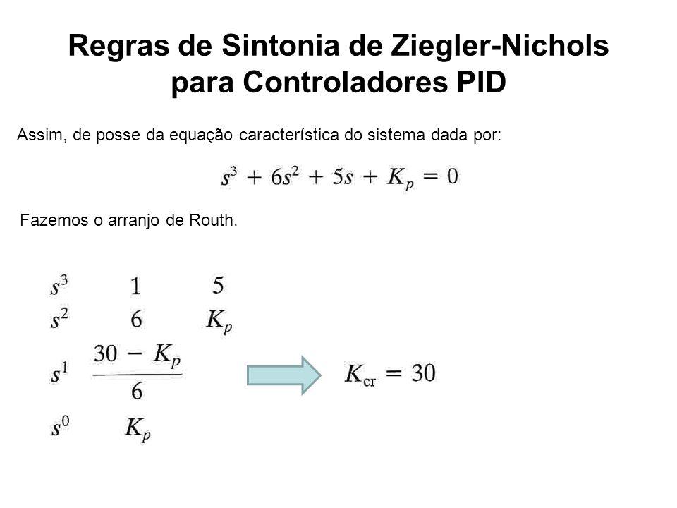 Regras de Sintonia de Ziegler-Nichols para Controladores PID Assim, de posse da equação característica do sistema dada por: Fazemos o arranjo de Routh