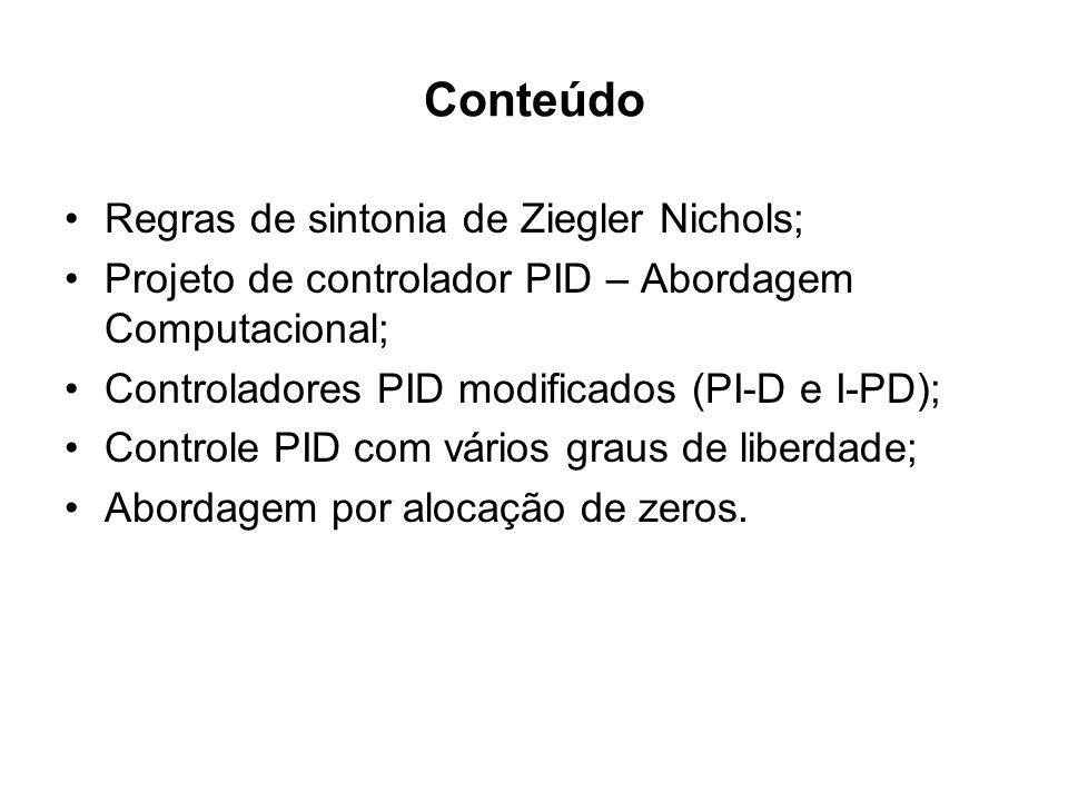 Conteúdo Regras de sintonia de Ziegler Nichols; Projeto de controlador PID – Abordagem Computacional; Controladores PID modificados (PI-D e I-PD); Con