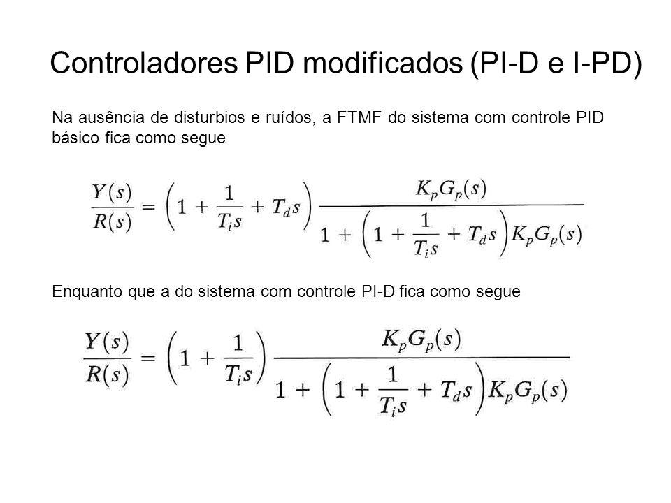 Controladores PID modificados (PI-D e I-PD) Na ausência de disturbios e ruídos, a FTMF do sistema com controle PID básico fica como segue Enquanto que