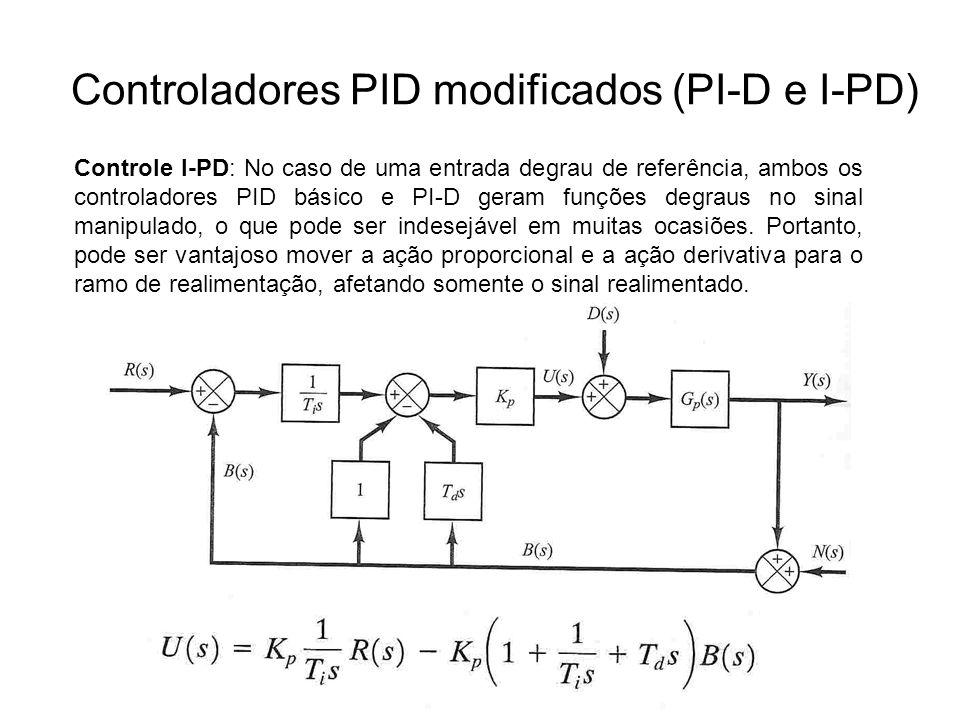 Controladores PID modificados (PI-D e I-PD) Controle I-PD: No caso de uma entrada degrau de referência, ambos os controladores PID básico e PI-D geram