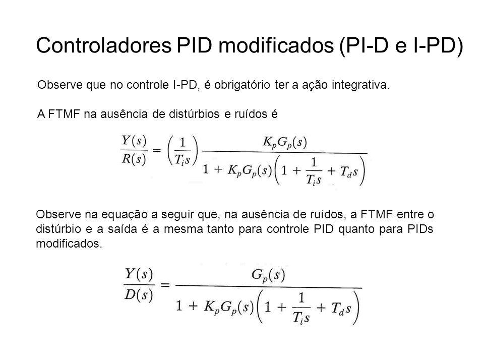 Controladores PID modificados (PI-D e I-PD) Observe que no controle I-PD, é obrigatório ter a ação integrativa. A FTMF na ausência de distúrbios e ruí