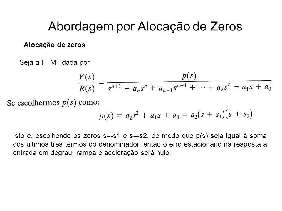 Abordagem por Alocação de Zeros Alocação de zeros Seja a FTMF dada por Isto é, escolhendo os zeros s=-s1 e s=-s2, de modo que p(s) seja igual à soma d