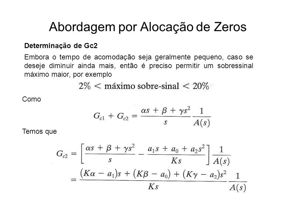 Abordagem por Alocação de Zeros Determinação de Gc2 Como Embora o tempo de acomodação seja geralmente pequeno, caso se deseje diminuir ainda mais, ent