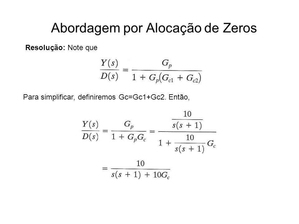 Abordagem por Alocação de Zeros Resolução: Note que Para simplificar, definiremos Gc=Gc1+Gc2. Então,