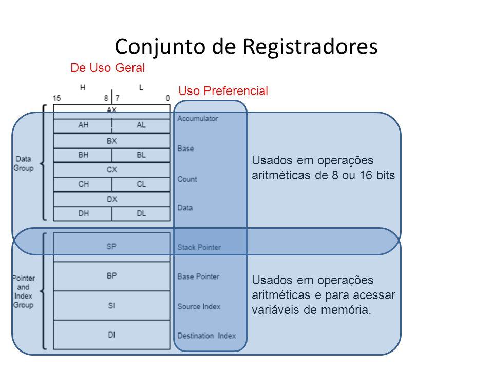Conjunto de Registradores De Uso Específico Usados para particionamento de memória Permite que a CPU possa acessar até 4 seguimentos distintos ao mesmo tempo Cada segmento lógico possui 64kB