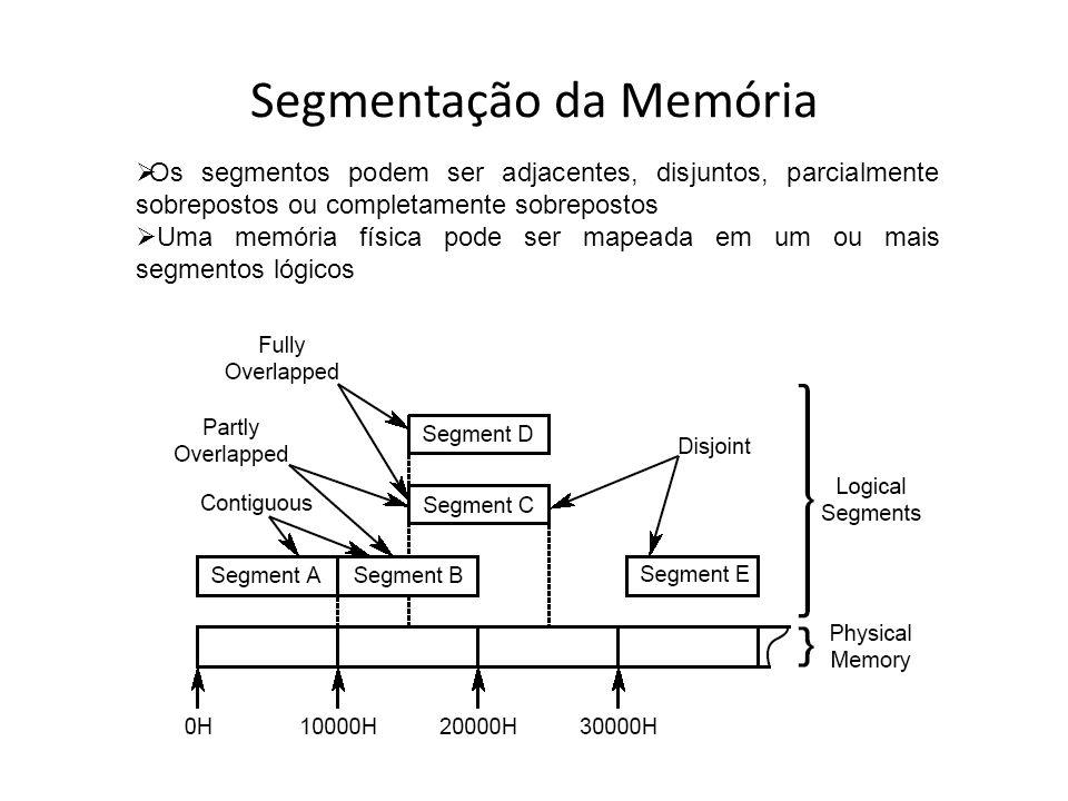 Segmentação da Memória Veremos em laboratório como podemos fazer o papel do sistema operacional e assim obter controle sobre os segmentos, alterando o valor dos registradores de segmento (DS, CS, SS e ES)
