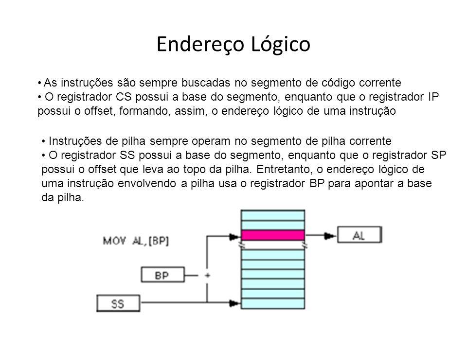 Implementação de Pilha Um sistema pode possuir múltiplas pilhas, só uma é diretamente endereçável por vez através dos registradores SS e SP Uma pilha pode ter até 64kB, sendo que SS determina a base e SP o topo O ponto de origem da pilha é o topo (não a base) As pilhas armazenam palavras de 16 bits Portanto, para armazenar um elemento na pilha, deve-se decrementar SP de 2 (2 bytes), e então escrever a palavra em SP Ao ler um elemento da pilha, deve-se incrementar SP de 2 A pilha cresce em direção à sua base Operações de pilha nunca movem ou apagam os elementos armazenados