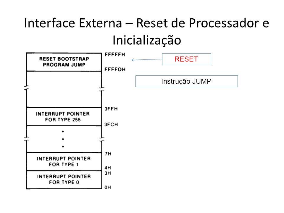 Interface Externa – Operações de Interrupção Existem duas classes de interrupções: de hardware e de software Interrupções de software são tratadas posteriormente quando falarmos dos conjuntos de instruções Interrupções de hardware são classificadas ainda como Não-Mascaráveis (NMI) ou Mascaráveis (INTR)