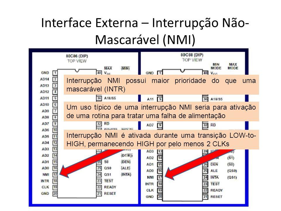 Interface Externa – Interrupção Mascarável (INTR) Interrupção INTR pode ser mascarada internamente via software, resetando o bit status FLAG Uma interrupção mascarável é ativada durante uma transição LOW-to-HIGH em INTR BUSCAR MAIS DETALHES!