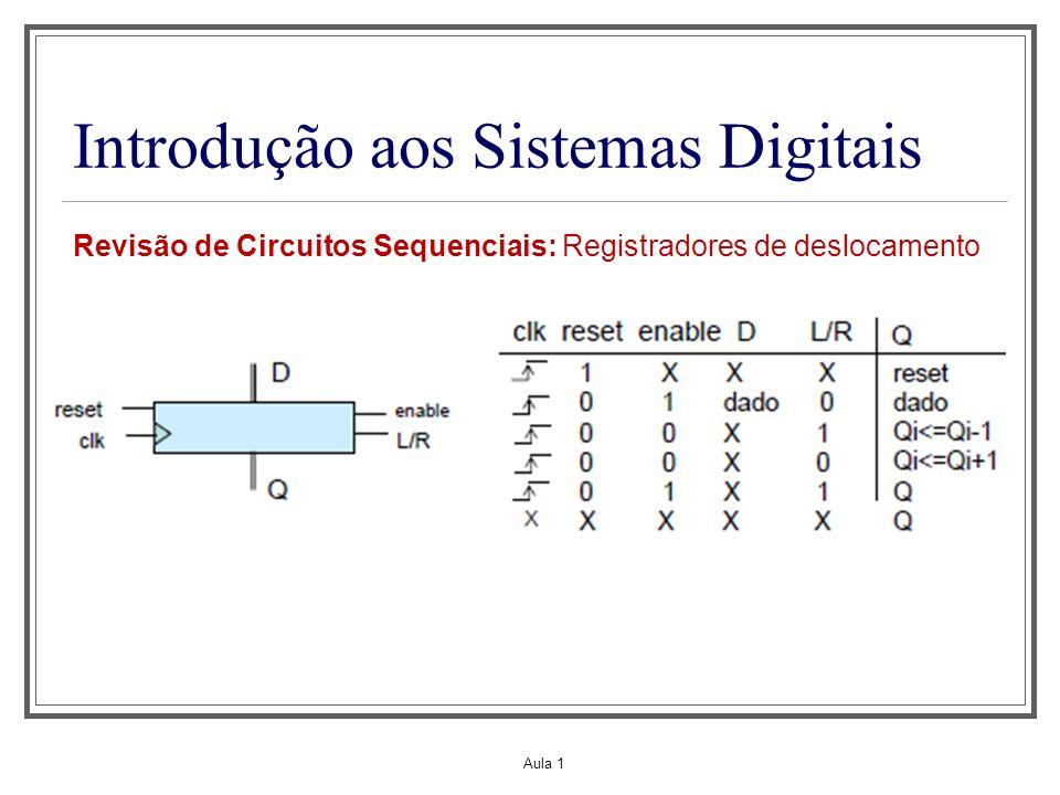 Aula 1 Introdução aos Sistemas Digitais Revisão de Circuitos Sequenciais: Registradores de deslocamento