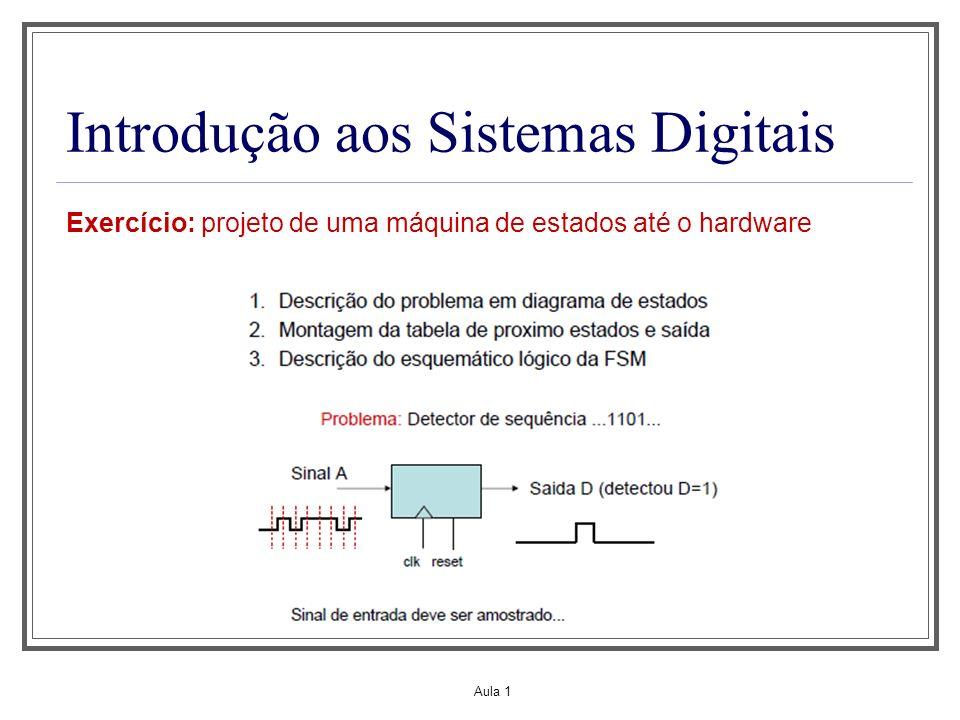 Aula 1 Introdução aos Sistemas Digitais Exercício: projeto de uma máquina de estados até o hardware