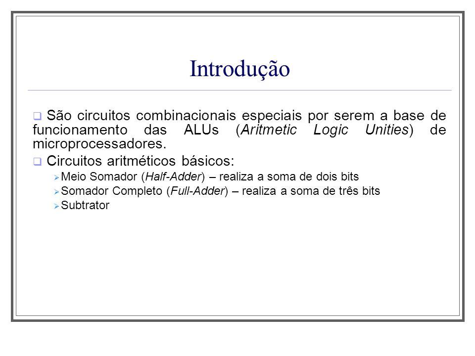 Introdução São circuitos combinacionais especiais por serem a base de funcionamento das ALUs (Aritmetic Logic Unities) de microprocessadores. Circuito