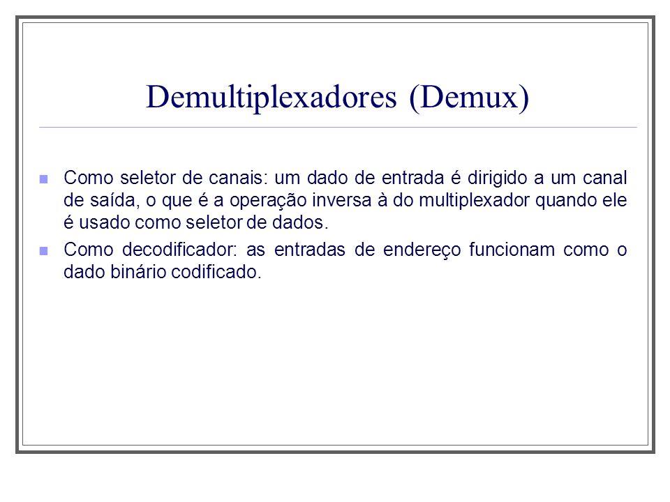 Demultiplexadores (Demux) Como seletor de canais: um dado de entrada é dirigido a um canal de saída, o que é a operação inversa à do multiplexador qua