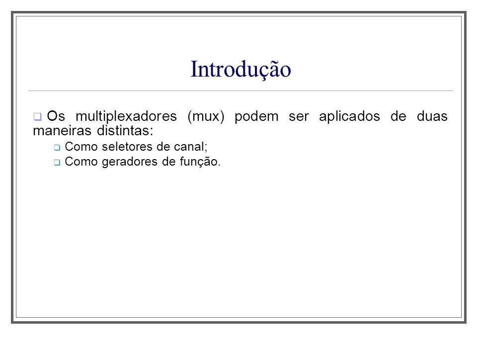 Introdução Os multiplexadores (mux) podem ser aplicados de duas maneiras distintas: Como seletores de canal; Como geradores de função.