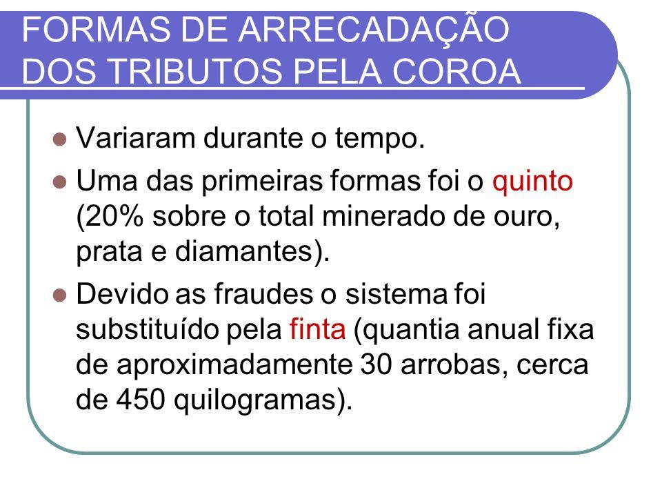 FORMAS DE ARRECADAÇÃO DOS TRIBUTOS PELA COROA Variaram durante o tempo. Uma das primeiras formas foi o quinto (20% sobre o total minerado de ouro, pra
