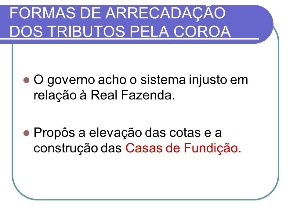 FORMAS DE ARRECADAÇÃO DOS TRIBUTOS PELA COROA O governo acho o sistema injusto em relação à Real Fazenda.