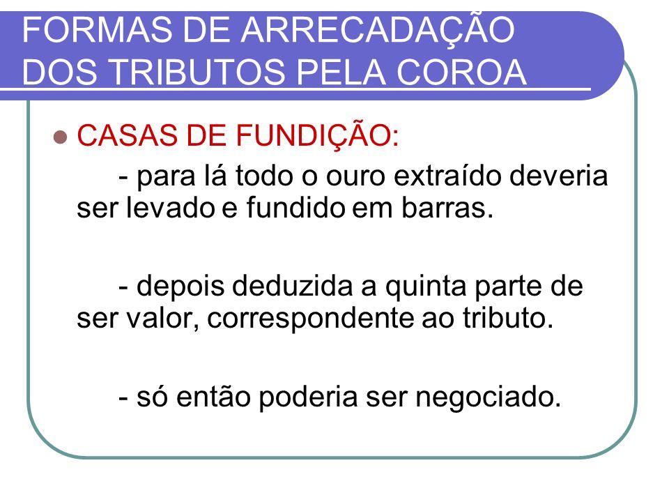 FORMAS DE ARRECADAÇÃO DOS TRIBUTOS PELA COROA CASAS DE FUNDIÇÃO: - para lá todo o ouro extraído deveria ser levado e fundido em barras.