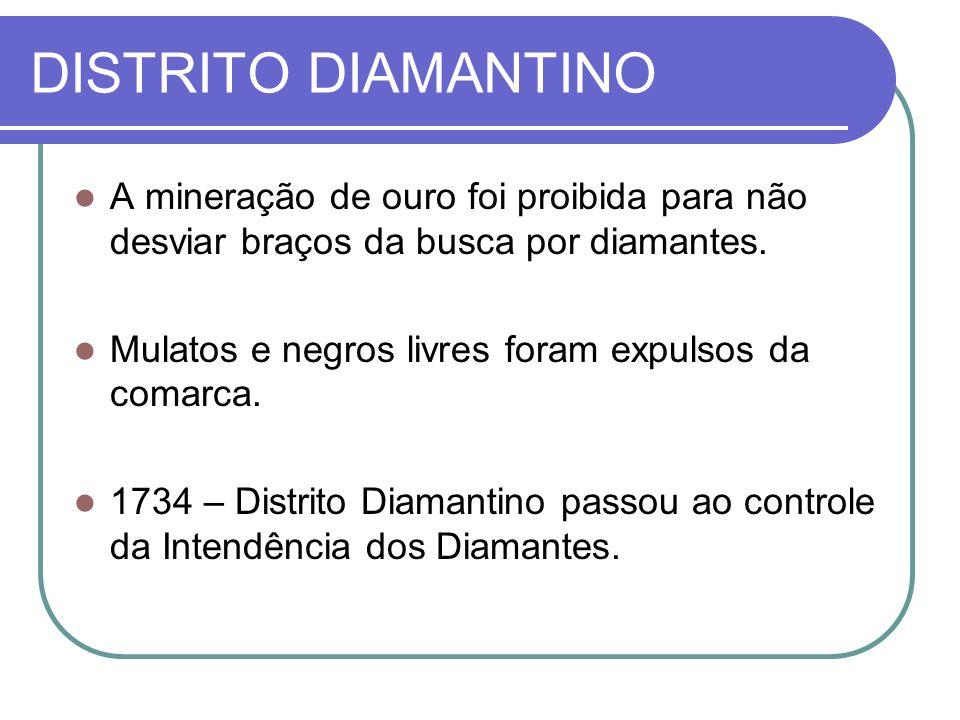 DISTRITO DIAMANTINO A mineração de ouro foi proibida para não desviar braços da busca por diamantes. Mulatos e negros livres foram expulsos da comarca