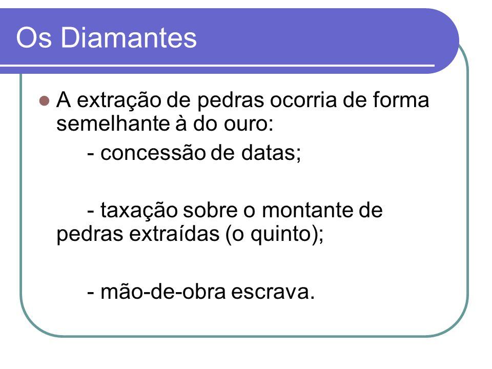 Os Diamantes A extração de pedras ocorria de forma semelhante à do ouro: - concessão de datas; - taxação sobre o montante de pedras extraídas (o quinto); - mão-de-obra escrava.