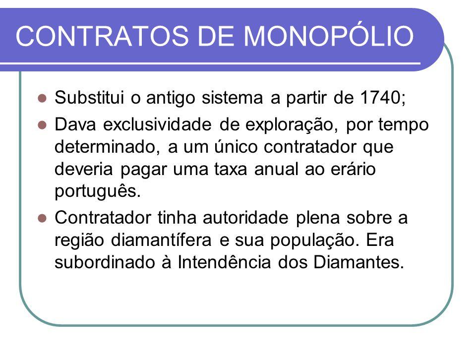 CONTRATOS DE MONOPÓLIO Substitui o antigo sistema a partir de 1740; Dava exclusividade de exploração, por tempo determinado, a um único contratador que deveria pagar uma taxa anual ao erário português.