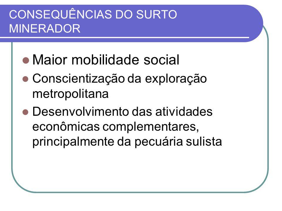 CONSEQUÊNCIAS DO SURTO MINERADOR Maior mobilidade social Conscientização da exploração metropolitana Desenvolvimento das atividades econômicas complem