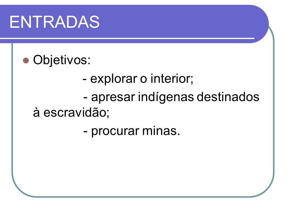 ENTRADAS Objetivos: - explorar o interior; - apresar indígenas destinados à escravidão; - procurar minas.