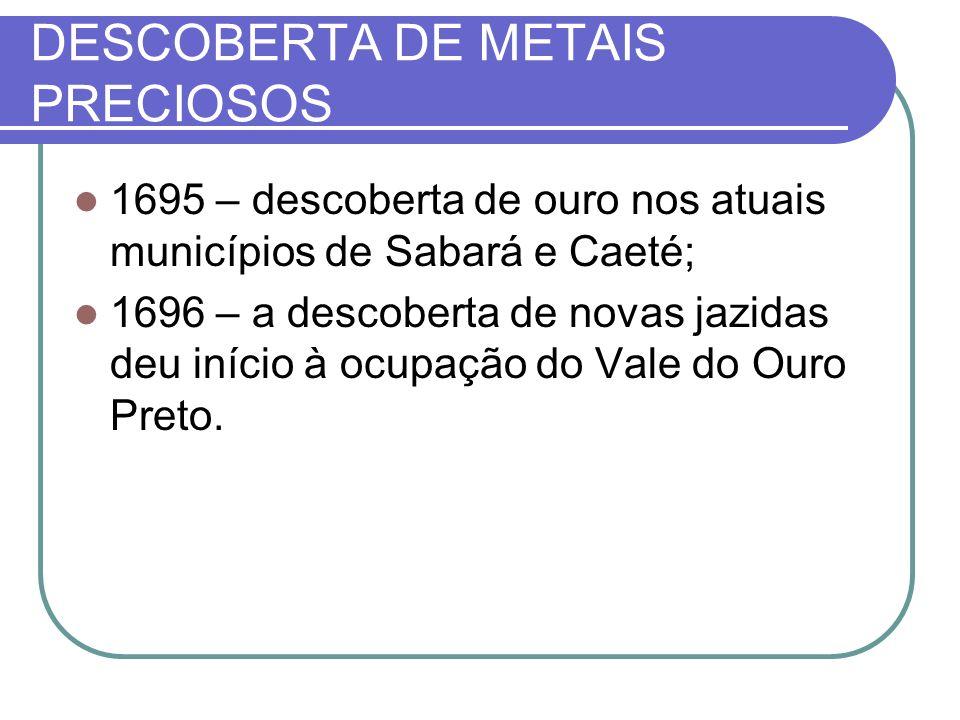DESCOBERTA DE METAIS PRECIOSOS 1695 – descoberta de ouro nos atuais municípios de Sabará e Caeté; 1696 – a descoberta de novas jazidas deu início à ocupação do Vale do Ouro Preto.