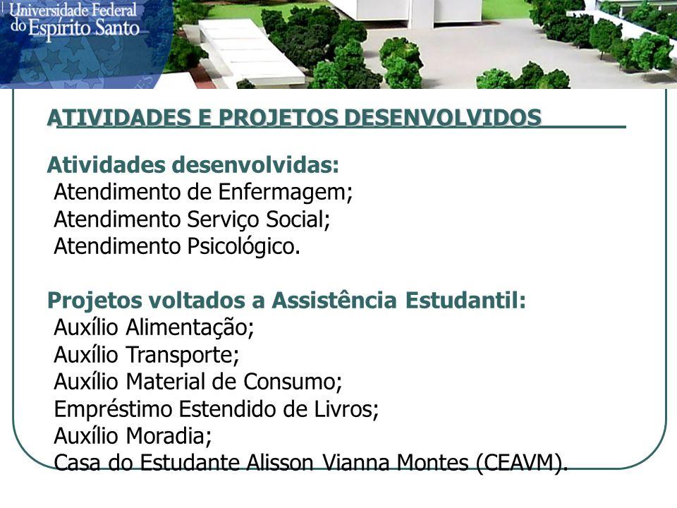 ATIVIDADES E PROJETOS DESENVOLVIDOS Atividades desenvolvidas: Atendimento de Enfermagem; Atendimento Serviço Social; Atendimento Psicológico.